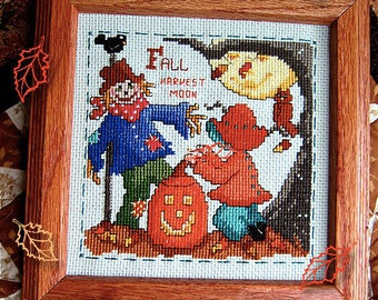 INSTANT DOWNLOAD Autumn Fall Harvest Moon Sweet Sunbonnet Seasons PDF cross stitch patterns by Calico Confectionery at thecottageneedle.com