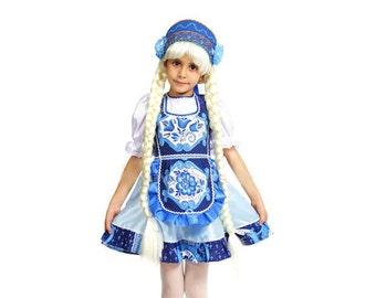 Traditional russian dress Gzhel Slavic ornament