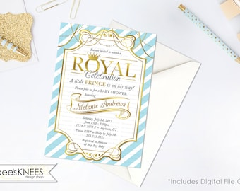 Little Prince Baby Shower Invitation Invite Printable Gold Baby Blue