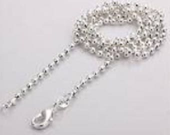 1 large necklace balls 925 silver plated (61.5 cm) + carabiner