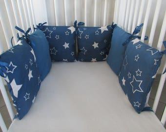 Cushion pattern Crib bumper stars
