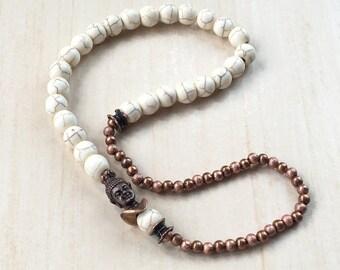 Buddhist Prayer Bracelet - Mala 27 Meditation - Tool Tibetan Jewelry - Antique Copper Buddha - Zen Mala Bracelet - Prayer Wrist 27 Mala 108