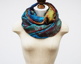 multi-colored scarf, bright bold silk veil, oversized hand printed shawl, 88editions scarves
