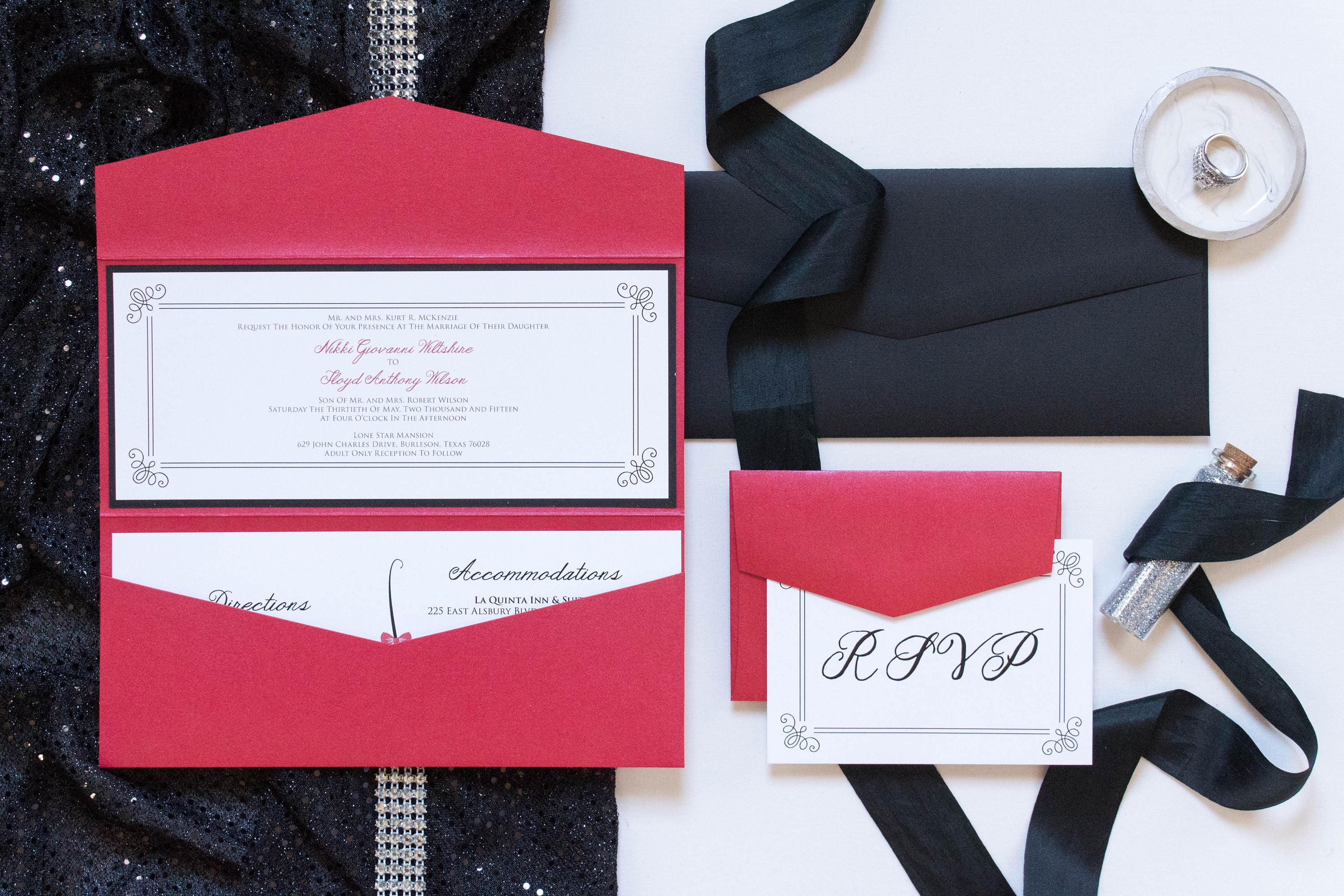 4x9 Odd Size Red and Black Pocket Wedding Invitation with