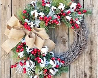 Cotton Winter Wreath, Primitive Wreath, Grapevine Wreath, Holiday Wreath, Christmas Wreath, Front Door Wreath, Rustic Christmas, Pine Wreath