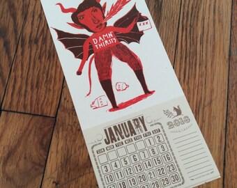 Moonshine Devil Calendar 2018 Red Hand Printed Letterpress