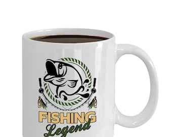 """Fathers Day Fishing Mug Coffee Cup """"Fishing Legend"""" Gift for Fishermen Dad, 11oz Ceramic with 4 colors"""