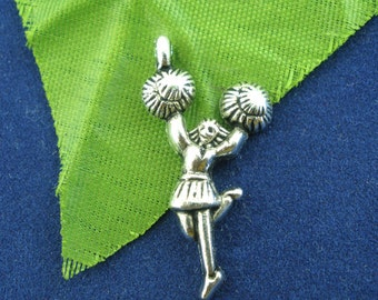 5 PCs Antique Silver Cheerleader Charms