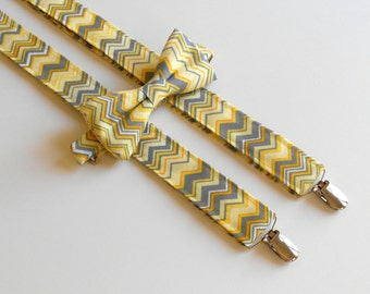 Yellow and Gray Chevron Bowtie and Suspenders Set - Men's Teen, Youth, Boy, Toddler, Infant    2 weeks before shiping
