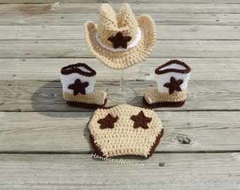 Newborn Baby Crochet Cowboy Hat Boots Photo Prop Outfit Diaper Cover Set Shower Gift 0-3 Months