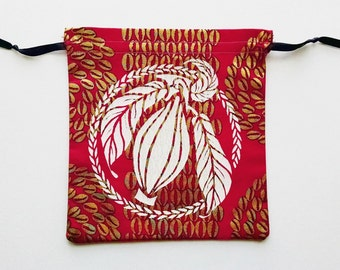 Pink and White Cacao Drawstring Bag