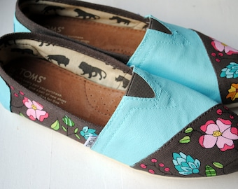 Blue Flower Garden Hand Painted TOMS, Custom Hand Painted Shoes