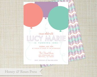 Balloon First Birthday Invite  .   Girl Birthday Balloon Invitation  .  Digital Invitation  .  Printable Invite