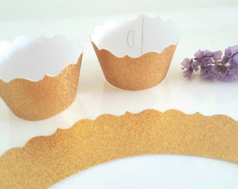 Gold cupcake wrappers,Fancy cupcake wrappers,Wedding cupcake decor,40th Birthday party decor,Pink cupcake wrappers,Glitter cupcake wrappers