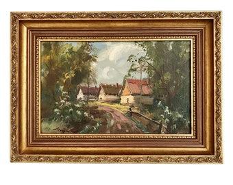 Vintage Original Oil Painting Landscape Signed Listed Hungarian Artist Country Cottage Scene