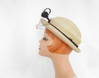 Vintage straw hat, 1930s 1940s ivory with navy accent