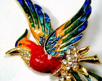 Giant Large BIRD Pin, Vintage Enamel n Sparkling Rhinestone Brooch, Gold Metal 1980s, Green RED Blue Yellow Long Bird, Glam & Colorful