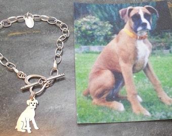 Boxer Custom TaGette Bracelet .. Sterling Silver Pet Portrait Dog silhouette Jewelry Memoralize Keepsake, Mothers Day