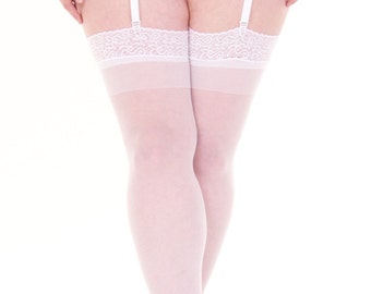 Plus Size White Lace Top Stockings MADE IN UK 14-18 20-24