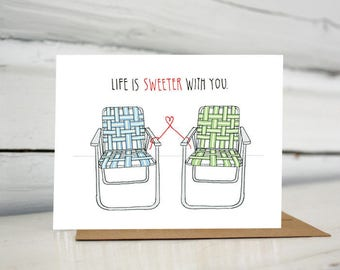 Vintage Lawn Chairs Valentine Love Greeting Card