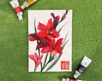 Gladiolus, handmade postcard