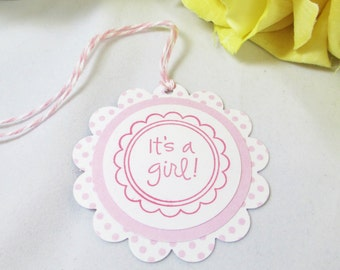 10 Baby Shower Tags - It's a Girl Gift Tag - Baby Girl Favor Tags - Pink Baby Shower Bag Tag - Baby Sprinkle Thank You Tags - Mommy to Be