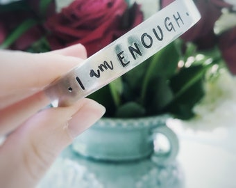I am enough in His eyes - handstamped silver cuff bracelet - Christian jewelry - faith bracelet - meaningful jewelry