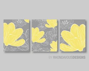 Flower Art Prints -  Flower Bathroom Art  - Flower Bedroom Decor - Flower Bath - Flower Wall Art - Flower Nursery Art - Yellow Gray (NS-224)