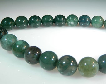 Green Moss Agate Beads, 10mm Round Beads, Natural Gemstone, High Quality, 1 Full Strand 38 beads