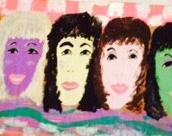 Six Ladies PINK CHEKERBOARD  original painting---- marked 1/2 off
