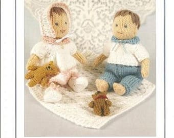 Elizabeth and Daniel Knitted Dolls and Accessories, Knits & Pieces Knitting Pattern , Toy knitting pattern, Doll  toy pattern KP 21