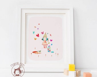 Catching - girl and butterflies Nursery Decor - Fine Art print -little girl's room decor - Cute baby Girl's room illustration pink