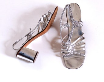 "vintage 1960s sandals, silver foil chunky heels . womens shoes size 7 . 2.5"" heel strappy sandals, leather sole, made in Italy"