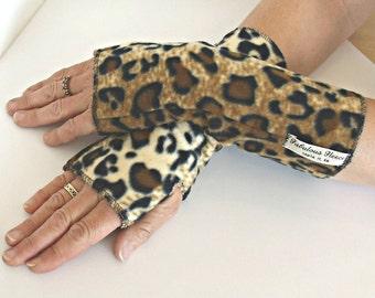 Fleece Arm Warmers, Fingerless gloves , Fleece Wrist warmers, Cheetah print fleece, Washable, Matching hat, ruana, and vest, Easy to wear