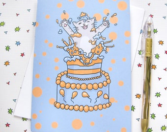 Birthday Cake Cute Cat Any Occasion Card Birthday Card Cute Greeting Card Kitty Present Gift Funny Humor Blue Orange
