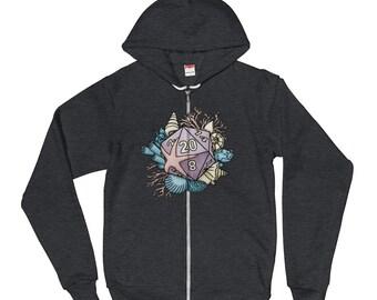 Mermaid D20 Zip-up Hoodie sweater - D&D Tabletop Gaming