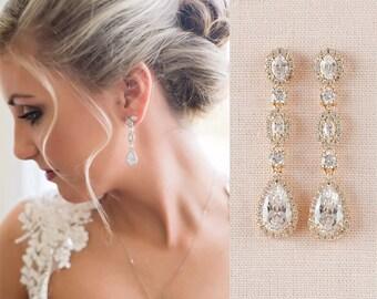 Gold Bridal Earrings, Crystal Wedding Earrings,  Bridesmaid Earrings, Long, Wedding Jewelry, Bridal Jewelry, Marisa Bridal Earrings