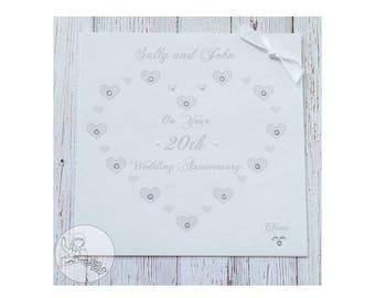 Handmade Personalised Twentieth Wedding Anniversary Card 20th China Gift Card