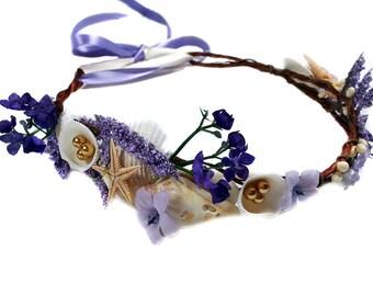 Purple Mermaid Beachy Wedding Headpiece-Little Mermaid Crown- Shells Flower Crown-Starfish, Ribbon, Ocean Circlet
