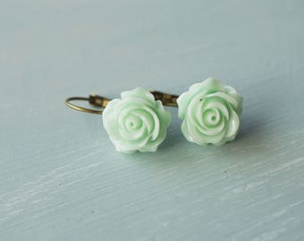 Earrings, mint resin rose brass dangle earrings