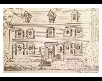 Pen and Ink Home Sweet Home Portrait 8 x 10