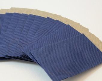 Set of 50 7 Blue kraft gift bags x 13.5 cm
