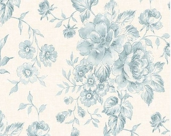 Blue Rooster And Hen Toile On White Wallpaper Farmhouse