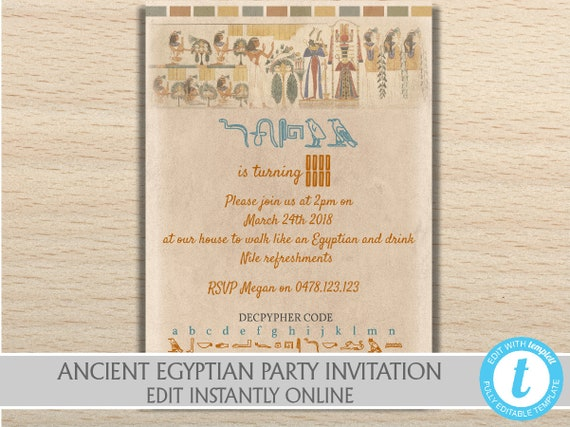Ancient Egyptian Themed Party Invitation, Egyptian Themed Baby Shower,  Egyptian Birthday Party, Egyptian Party, Egyptian Prom Theme