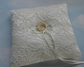 Ivory lace wedding ring cushion, Ring bearer pillow for weddings, Wedding ring pillow