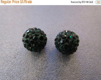 ON SALE 20% OFF Green Pave Rhinestone Disco Round Spacer Beads 2pcs