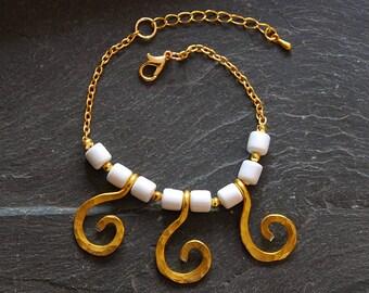 White charm bracelet, Gold Statement bracelet, Spiral bracelet, Hammered Tribal bracelet, Personalized, Summer jewelry for women, 1171-A18