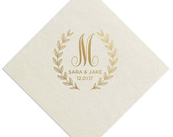 100 Personalized Wedding Napkins Custom Monogram Rustic Flowers Laurel Wreath Lots of Napkin Colors and Print Colors to choose from!