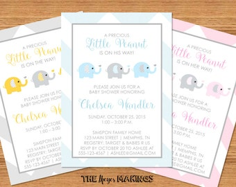 A Little Peanut Elephant Baby Shower Invitation