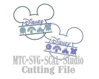 SVG coupe fichier souris monogramme tête Mickey avec icônes Silhouette MTC SCAL Format de fichier